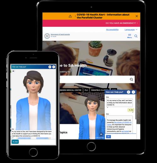 SA Health chatbot on mobile and tablet